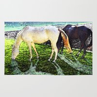 horses Area & Throw Rugs featuring horses by  Agostino Lo Coco