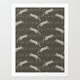 Brown and Gray Cute Leaping Cat and Mouse Art Print