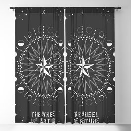 Minimal Tarot Deck The Wheel of Fortune Blackout Curtain