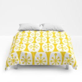Mid Century Modern Atomic Fusion Pattern Yellow Comforters