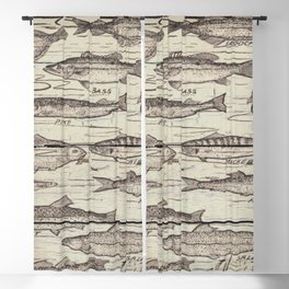 father's day fisherman gifts whitewashed wood lakehouse freshwater fish Blackout Curtain