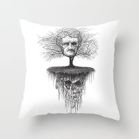 edgar allen poe Throw Pillows featuring Edgar Allan Poe, Poe Tree by Newmanart7 -- JT and Nancy Newman, Art a