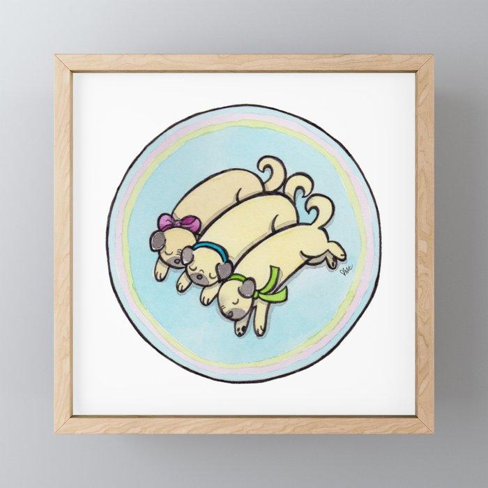 Snug as a Pug on a Rug Framed Mini Art Print