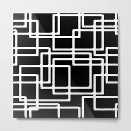 Interlocking White Squares Artistic Design Metal Print