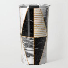Marble Triangles - Black and White Travel Mug