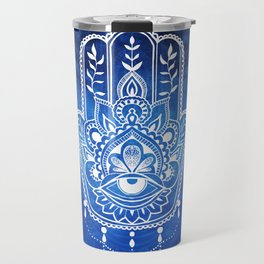 Blue Mandala Hamsa Travel Mug