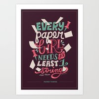 paper towns Art Prints featuring Paper Towns: Paper Girl by Risa Rodil