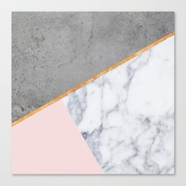 Marble Blush Gold gray Geometric Canvas Print