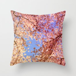 Cherry Blossom Sky Throw Pillow