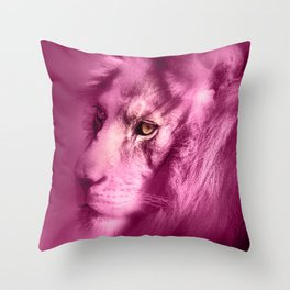 Fantasy Lion of Legend in Pink Throw Pillow