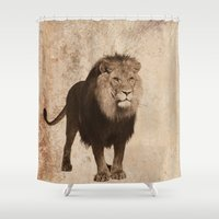 decal Shower Curtains featuring Lion by haroulita