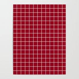 Carmine - purple color -  White Lines Grid Pattern Poster