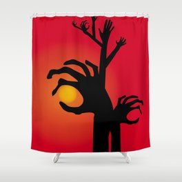 Halloween Raising Ghost Hands Shower Curtain