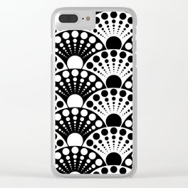 black and white art deco inspired fan pattern Clear iPhone Case