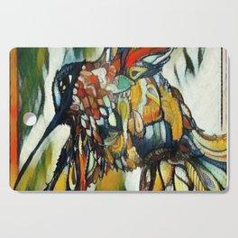 Dramatic Hummingbird in Flight, Colors of Autumn Cutting Board