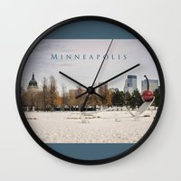 minneapolis Wall Clocks featuring Minneapolis by Kimberley Britt