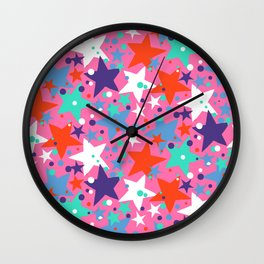 Fun ditsy print with constellations and twinkle lights Wall Clock