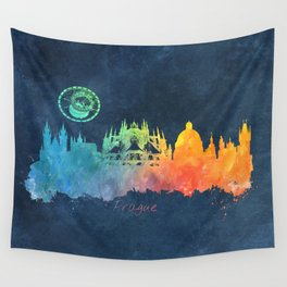 Prague colored skyline Wall Tapestry