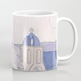 Santorini, the Greek jewel of Aegean Sea sepia Coffee Mug