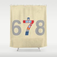 optimus prime Shower Curtains featuring Prime Number by 5eth