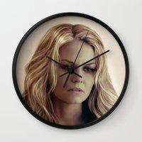 emma stone Wall Clocks featuring Emma by LindaMarieAnson