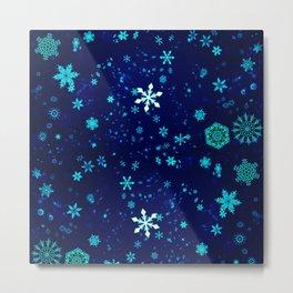 Blue Christmas Snowflakes Pattern Metal Print