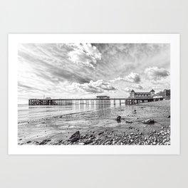 Penarth Pier Morning Light 2 Monochrome Art Print