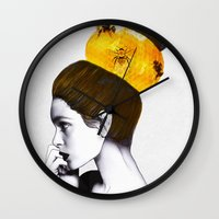 bee Wall Clocks featuring The Bee Hive  by Jenny Liz Rome