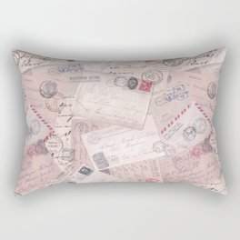 Nostalgic Letter and Postcard Collage Soft Pink Rectangular Pillow