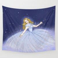 cinderella Wall Tapestries featuring Cinderella Transformation by carotoki art and love