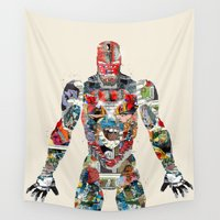 ironman Wall Tapestries featuring modern ironman  by bri.buckley