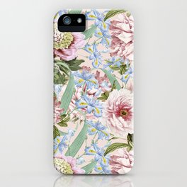 Vintage & Shabby Chic Floral Peony and Iris Flowers Watercolor Pattern iPhone Case