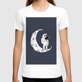 Little Spaceman on Crescent Moon T-shirt