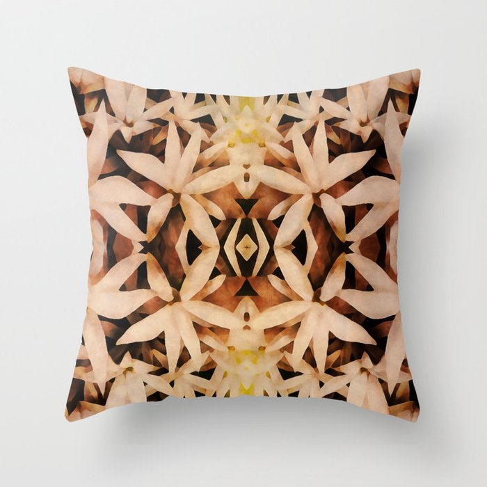Art Deco Throw Pillows.Bed Of Flowers Retro Art Deco Throw Pillow By Anutu