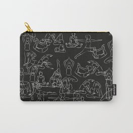 Chalkboard Yoga Pattern - white on black Carry-All Pouch