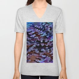Foliage Abstract In Blue and Lilac Tones Unisex V-Neck