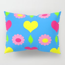 Daisy and heart print, turquoise, pink and yellow Pillow Sham