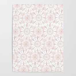 Pink rose hand drawn abstract modern floral Poster