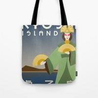 travel poster Tote Bags featuring Kyoshi Island Travel Poster by HenryConradTaylor