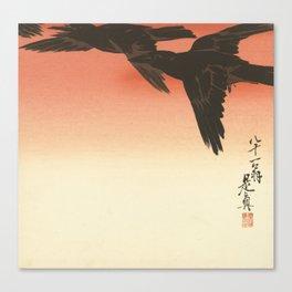 Crows against a red sky, Shibata Zeshin, 1888 Canvas Print