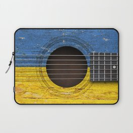 Old Vintage Acoustic Guitar with Ukrainian Flag Laptop Sleeve