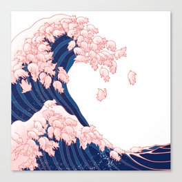 Pink Pigs Waves in White Canvas Print