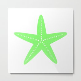 Starfish (Light Green & White) Metal Print