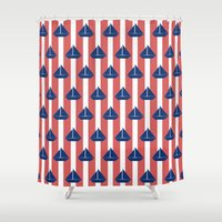 sailboat Shower Curtains featuring SAILBOAT by ovisum