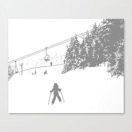 Little Skier - Grey Canvas Print