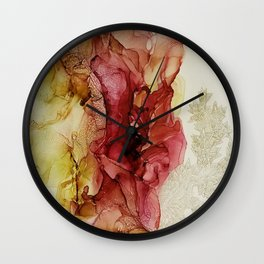 Bloom_Abstract art, alcohol ink art, green painting, red painting Wall Clock