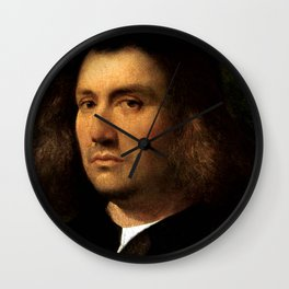 "Giorgione (Giorgio Barbarelli da Castelfranco) ""Portrait of a Man"" Wall Clock"