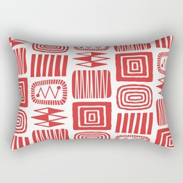 Retro Mid Century Modern Check Pattern 240 Red Rectangular Pillow