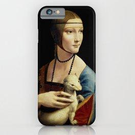 """Leonardo Da Vinci """"Portrait of Cecilia Gallerani (Lady with the Ermine)"""" iPhone Case"""