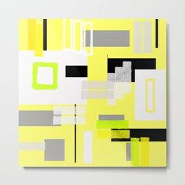 yellow white black silver grey green orange geometric modern art Metal Print